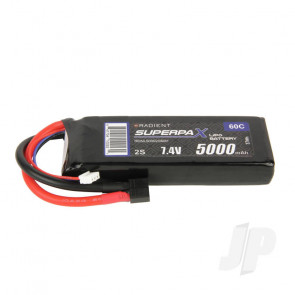 Radient LiPo Battery 2S 5000mAh 7.4V 60C Deans HCT T-style Connector