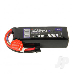 Radient LiPo Battery 3S 5000mAh 11.1V 35C Deans HCT T-style Connector