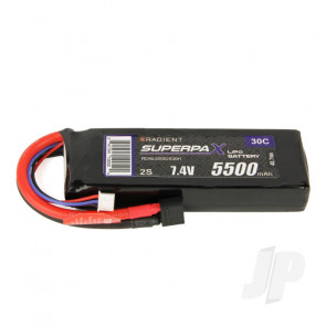 Radient LiPo Battery 2S 5500mAh 7.4V 30C Deans HCT T-style Connector