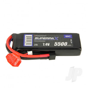 Radient LiPo Battery 2S 5500mAh 7.4V 60C Deans HCT T-style Connector
