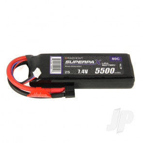 Radient LiPo Battery 2S 5500mAh 7.4V 80C Deans HCT T-style Connector