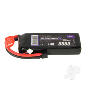 Radient LiPo Battery 2S 6000mAh 7.4V 100C Deans HCT T-style Connector