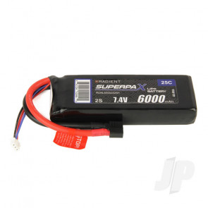 Radient LiPo Battery 2S 6000mAh 7.4V 25C Deans HCT T-style Connector