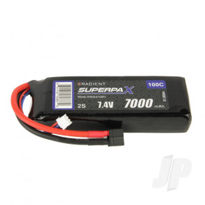 Radient LiPo Battery 2S 7000mAh 7.4V 100C Deans HCT T-style Connector