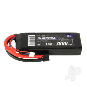 Radient LiPo Battery 2S 7600mAh 7.4V 25C Deans HCT T-style Connector