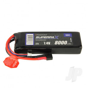 Radient LiPo Battery 2S 8000mAh 7.4V 30C Deans HCT T-style Connector