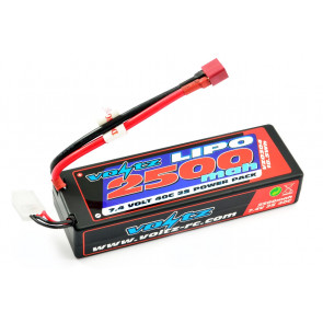 Voltz 2500mAh 2S 7.4v 40C Hard Case LiPo RC Car Battery w/Deans Connector Plug